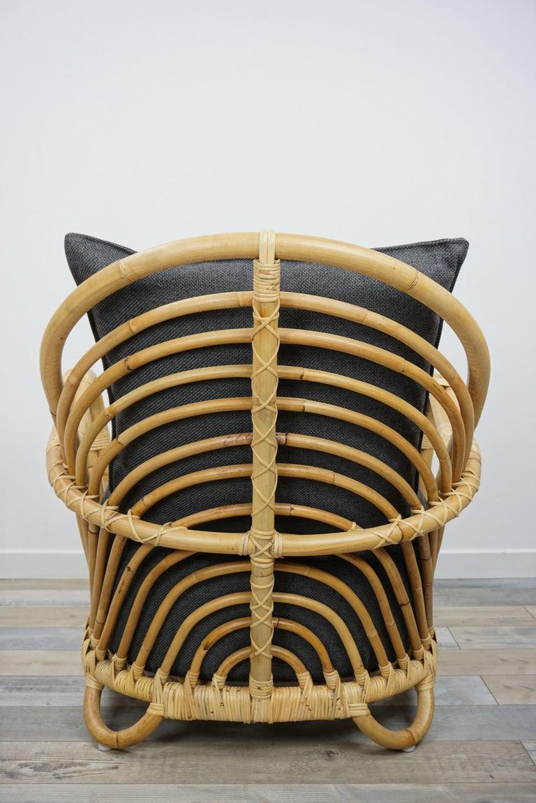 1930s Arne Jacobsen Design Rattan Lounge Armchair For Sale 3