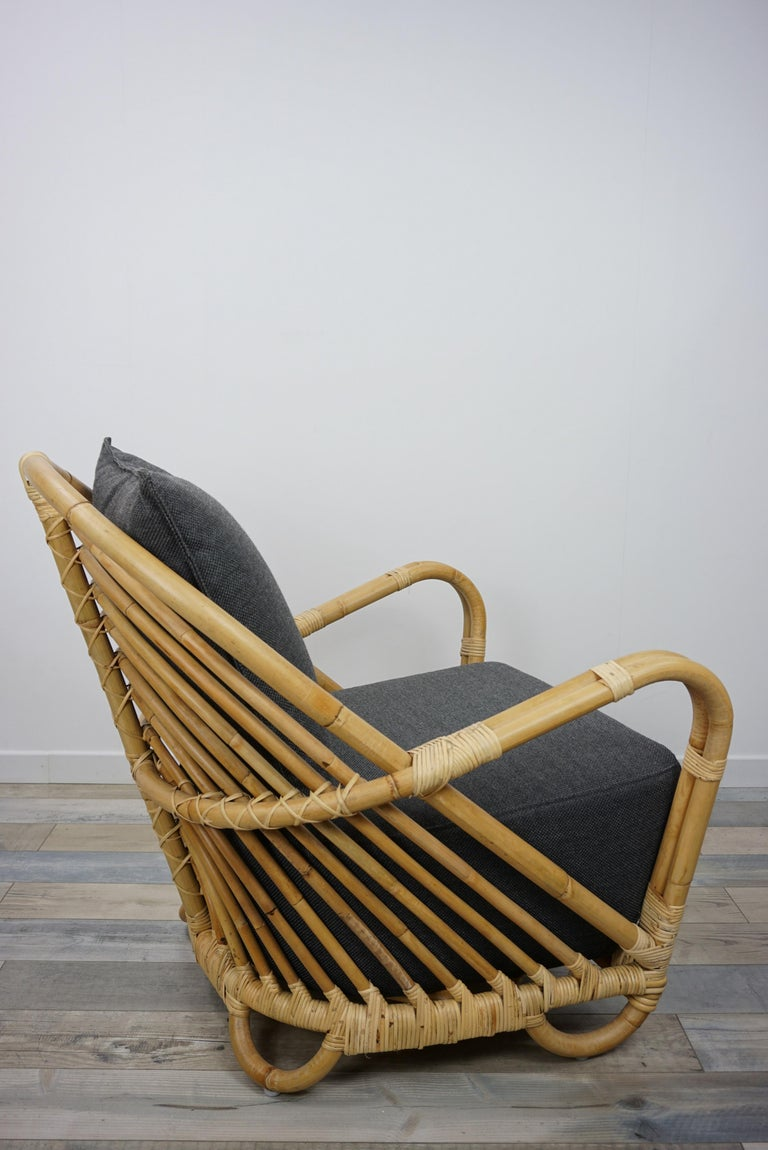 1930s Arne Jacobsen Design Rattan Lounge Armchair For Sale 4
