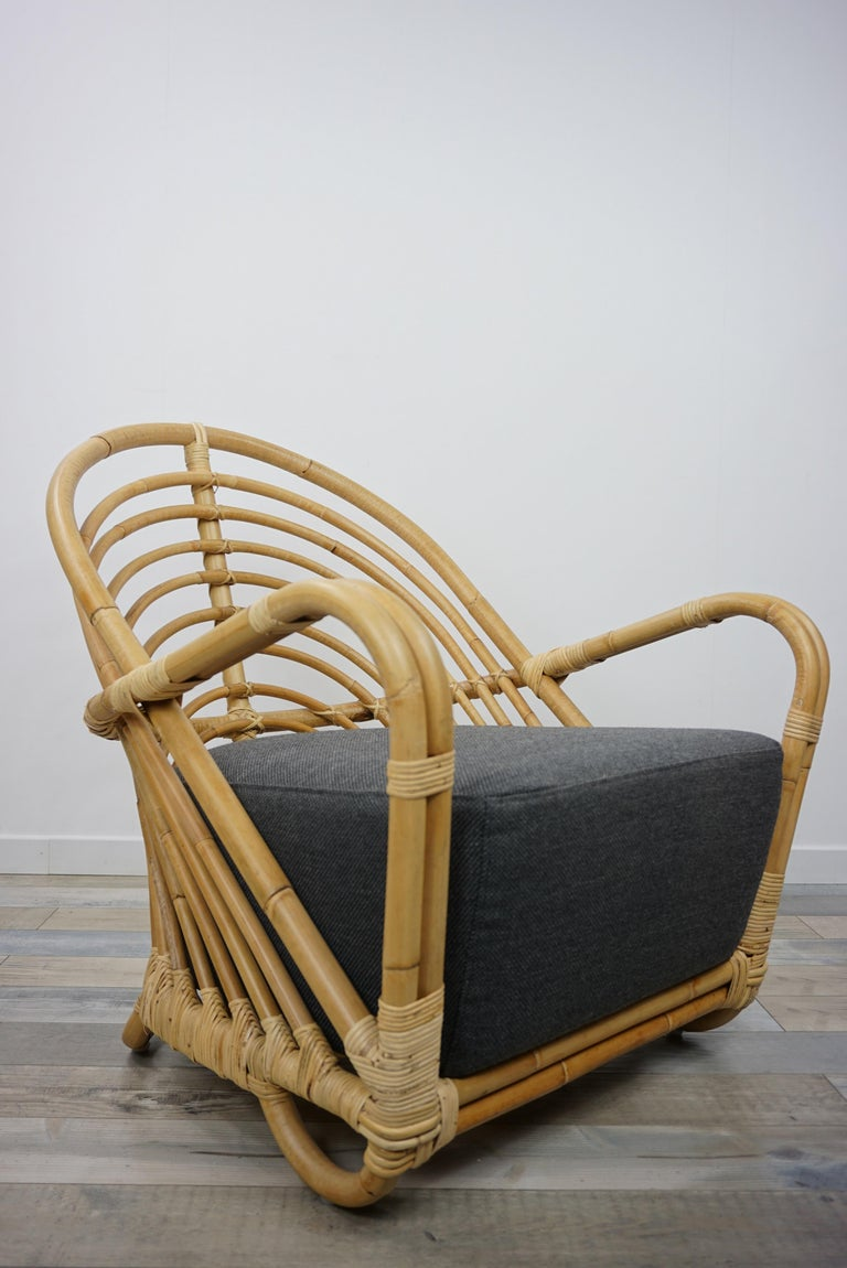 1930s Arne Jacobsen Design Rattan Lounge Armchair For Sale 7