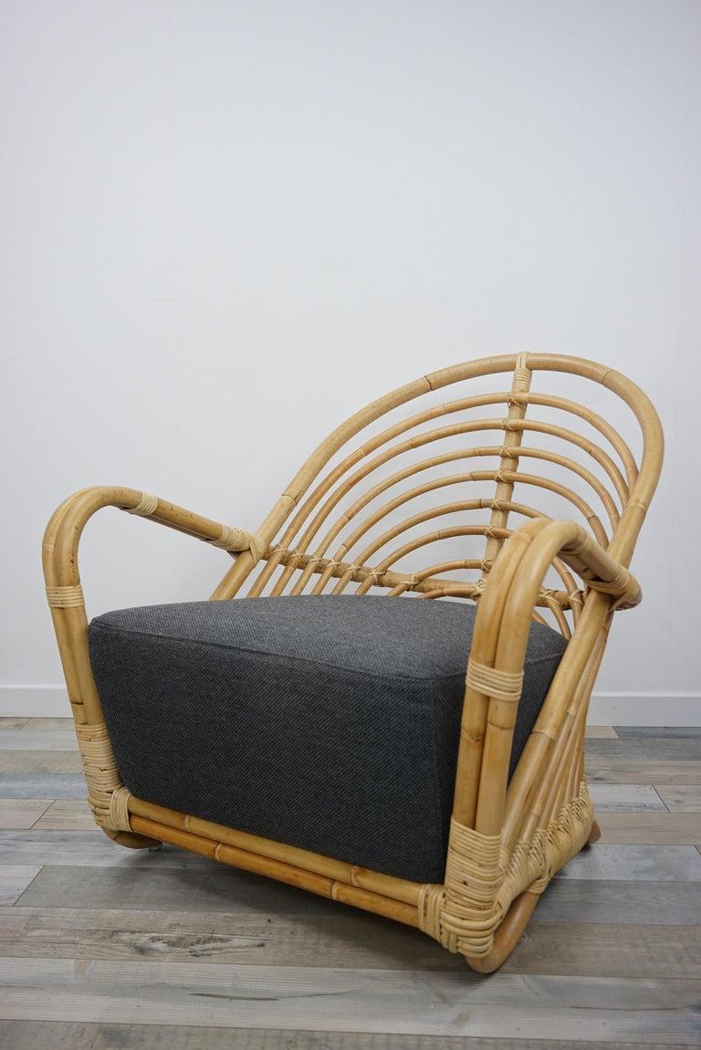 Mid-Century Modern 1930s Arne Jacobsen Design Rattan Lounge Armchair For Sale