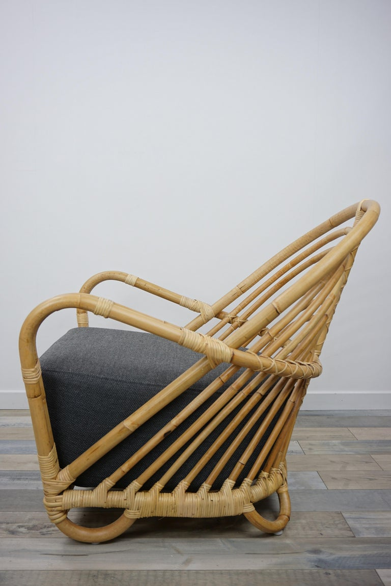 1930s Arne Jacobsen Design Rattan Lounge Armchair In New Condition For Sale In Tourcoing, FR