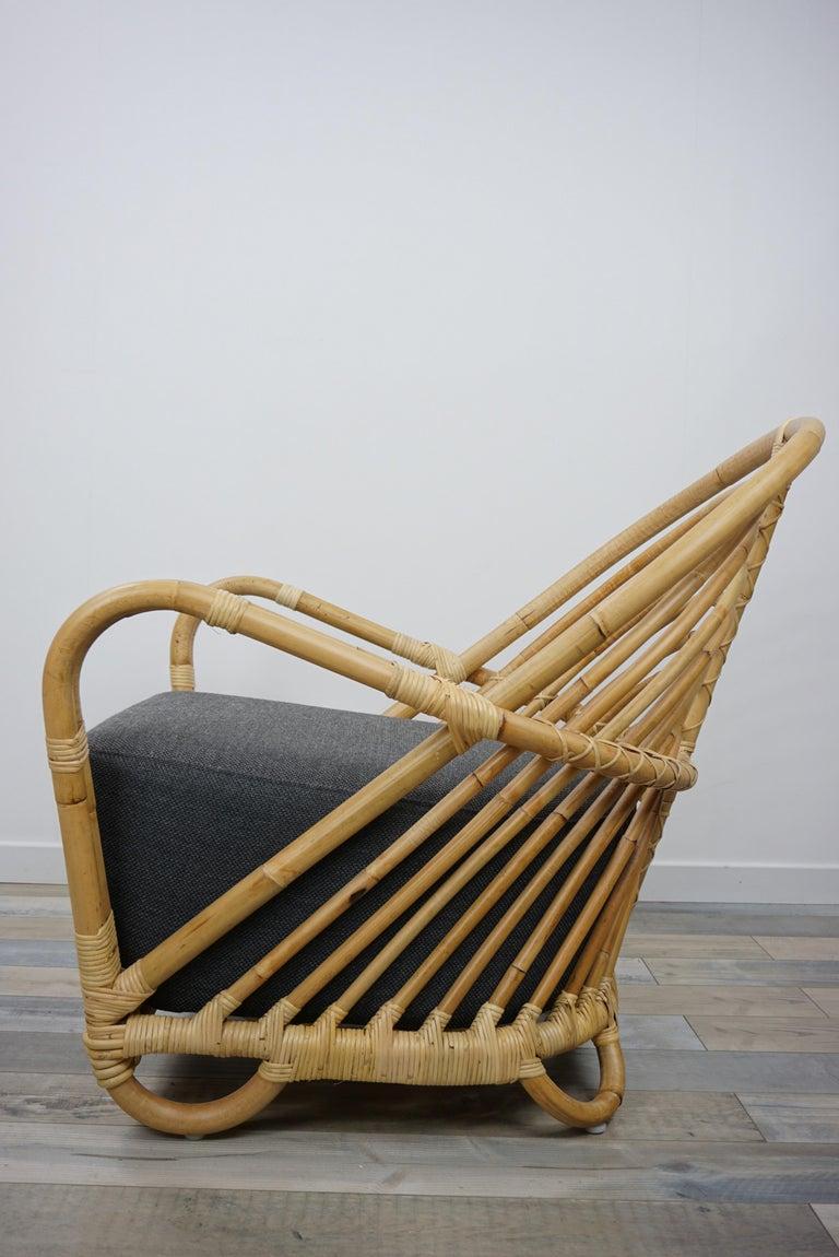 Contemporary 1930s Arne Jacobsen Design Rattan Lounge Armchair For Sale
