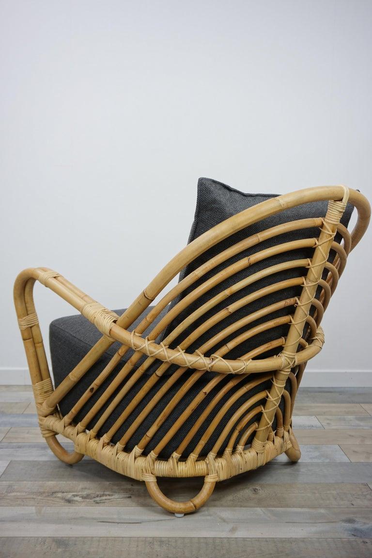 1930s Arne Jacobsen Design Rattan Lounge Armchair For Sale 1