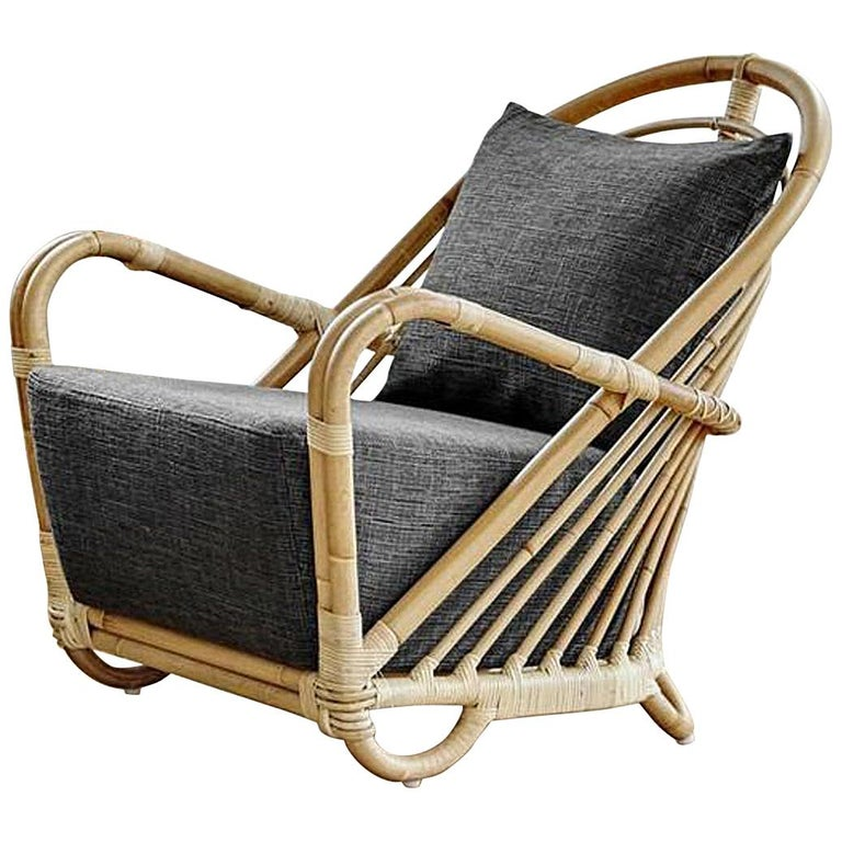 1930s Arne Jacobsen Design Rattan Lounge Armchair For Sale