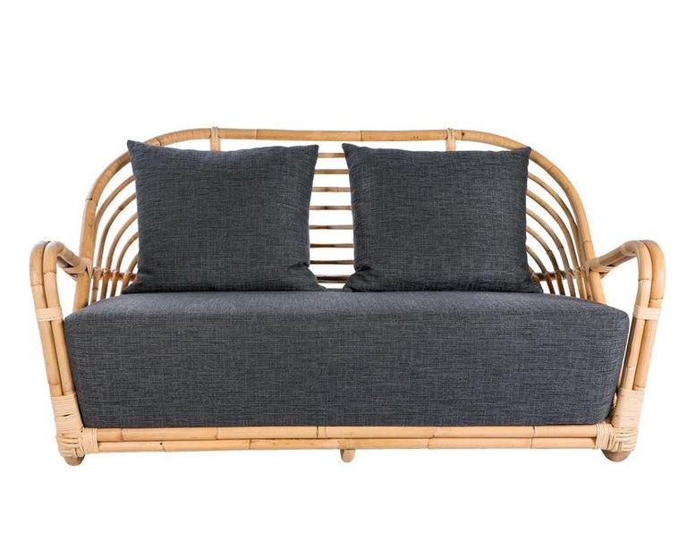 European 1930s Arne Jacobsen Design Rattan Sofa For Sale
