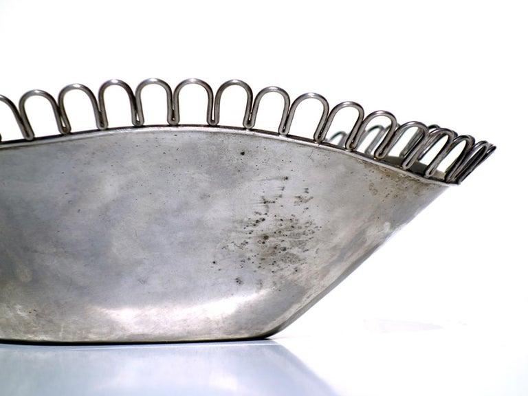 Silver Plate 1930s Arrigo Finzi Metargent Italian Design Silver Metal Bowl For Sale