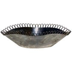 1930s Arrigo Finzi Metargent Italian Design Silver Metal Bowl
