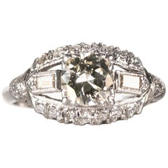 1930s Art Deco 0.80 Carat Old European Diamond Platinum Engagement Ring
