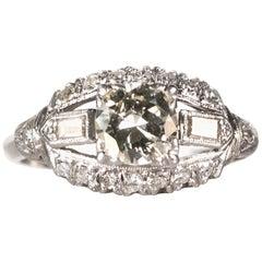 1930s Art Deco 0.80 Carat Old European Diamond and Platinum Engagement Ring
