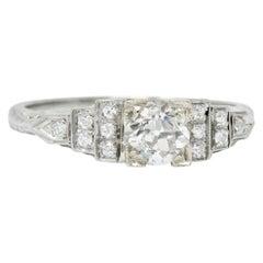 1930s Art Deco 0.81 Carat Diamond 18 Karat White Gold Engagement Ring