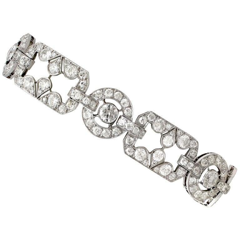 1930s Art Deco 12.29 Carat Diamond and Platinum Bracelet For Sale