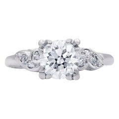 1930s Art Deco 1.30 Carat Diamond Engagement Ring