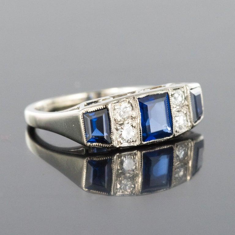 1930s Art Deco 1.69 Carat Sapphire Diamonds White Gold Garter Ring For Sale 6