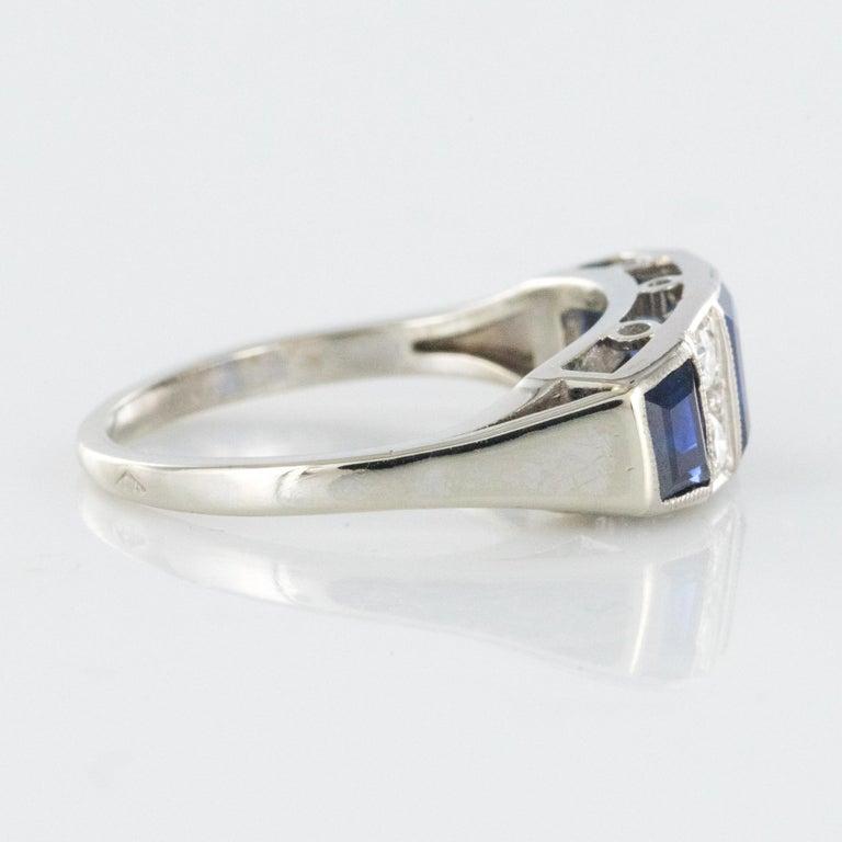 1930s Art Deco 1.69 Carat Sapphire Diamonds White Gold Garter Ring For Sale 7