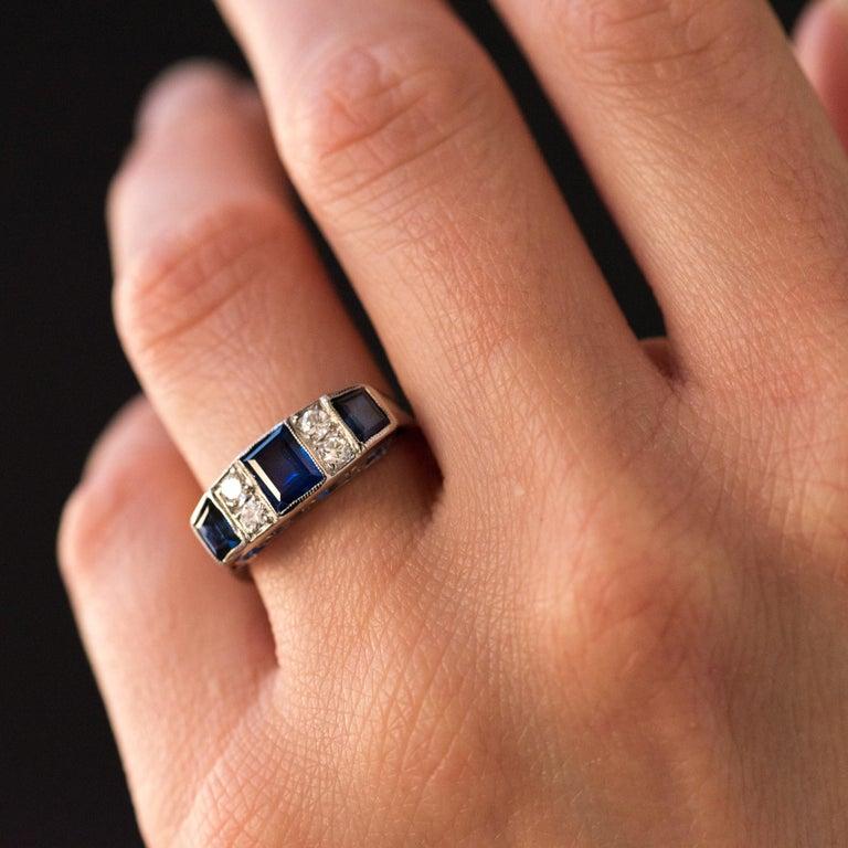 1930s Art Deco 1.69 Carat Sapphire Diamonds White Gold Garter Ring For Sale 8