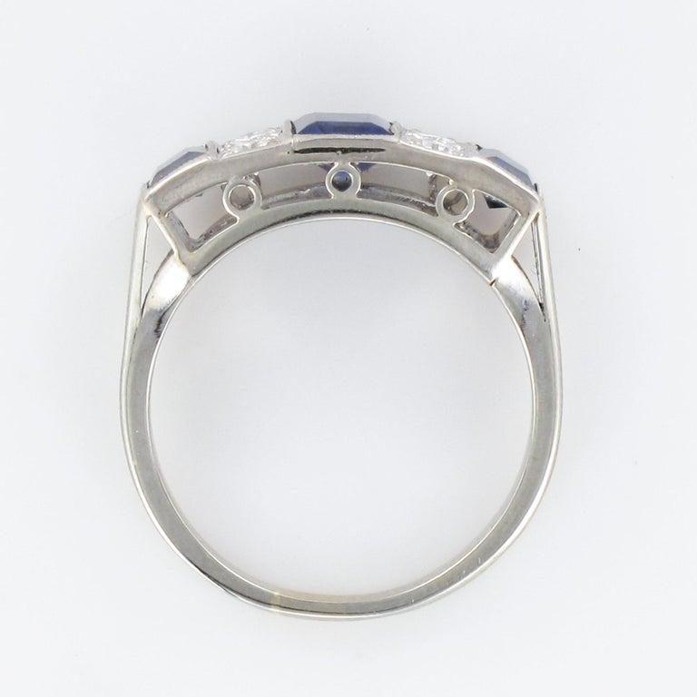 1930s Art Deco 1.69 Carat Sapphire Diamonds White Gold Garter Ring For Sale 10