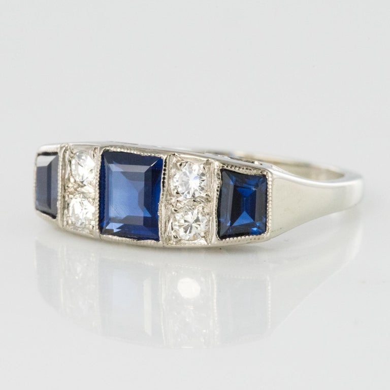 1930s Art Deco 1.69 Carat Sapphire Diamonds White Gold Garter Ring In Excellent Condition For Sale In Poitiers, FR
