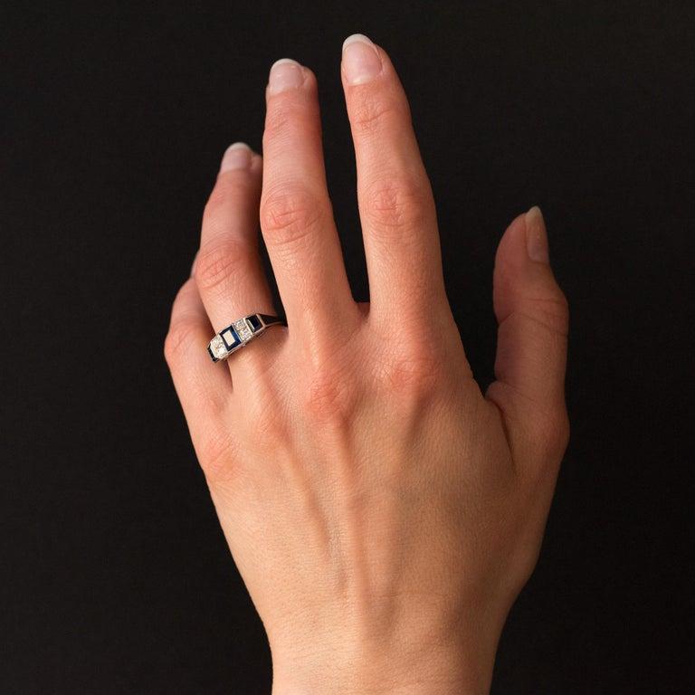 Women's 1930s Art Deco 1.69 Carat Sapphire Diamonds White Gold Garter Ring For Sale