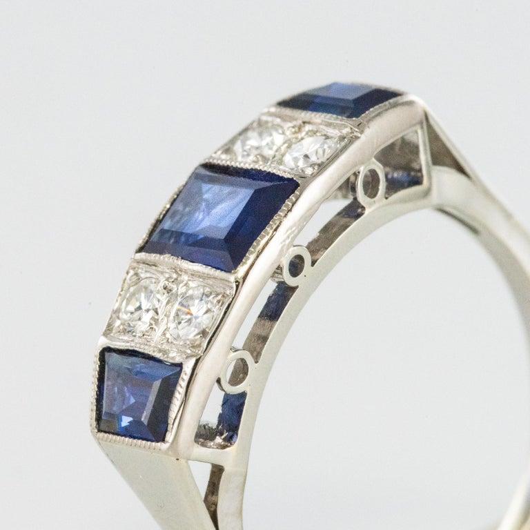 1930s Art Deco 1.69 Carat Sapphire Diamonds White Gold Garter Ring For Sale 1