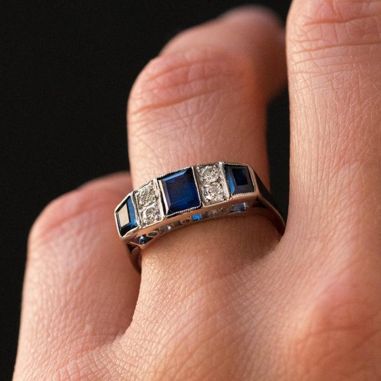 1930s Art Deco 1.69 Carat Sapphire Diamonds White Gold Garter Ring For Sale 2