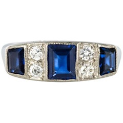 1930s Art Deco 1.69 Carat Sapphire Diamonds White Gold Garter Ring