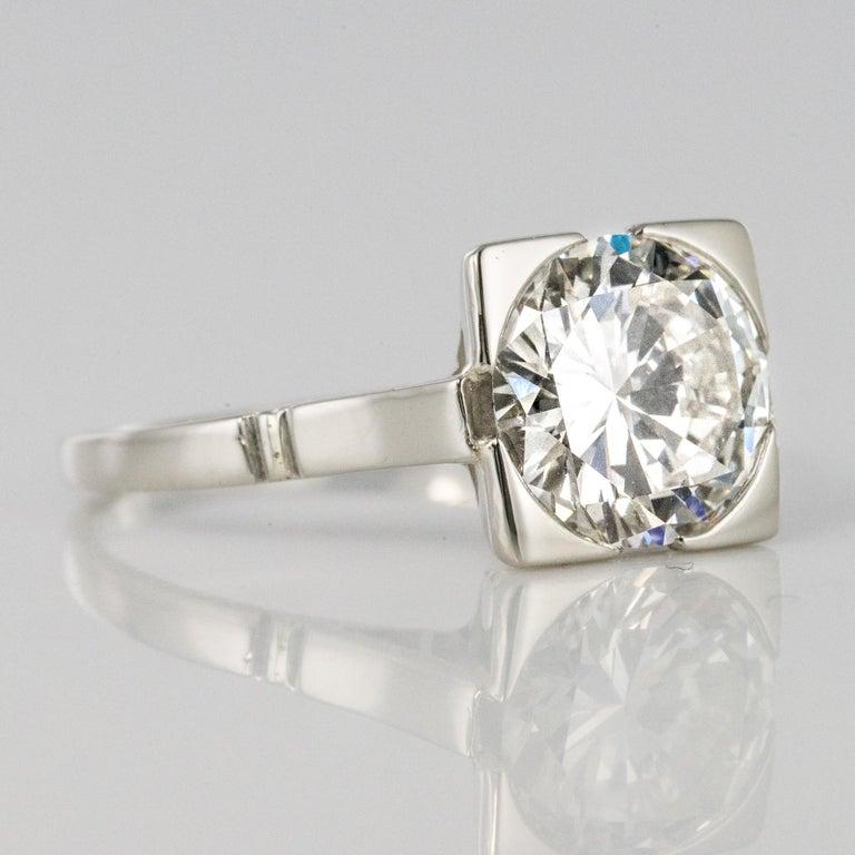 1930s Art Deco 1.78 Carat Diamond 18 Karat Platinum Solitary Ring For Sale 6