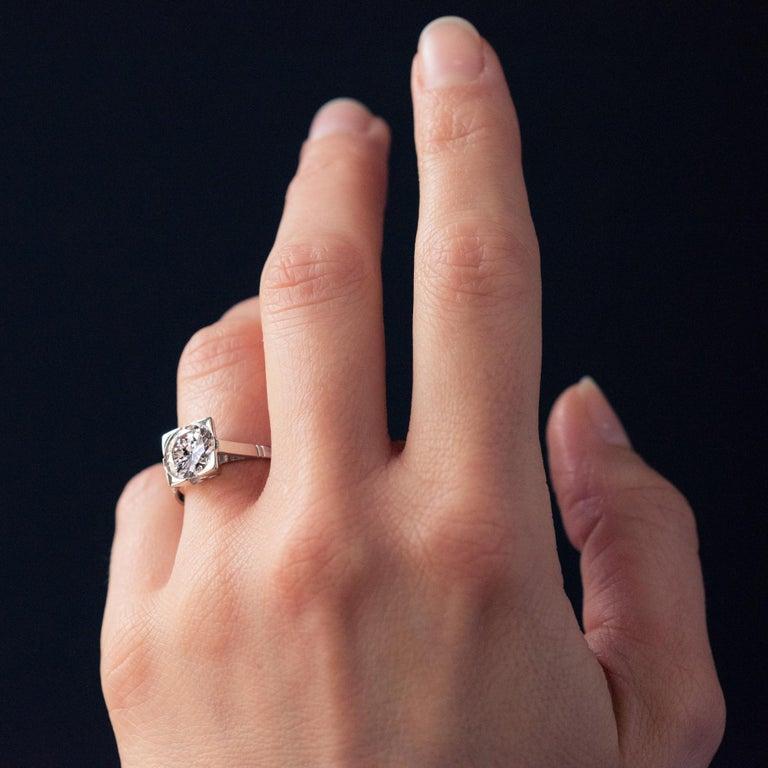 1930s Art Deco 1.78 Carat Diamond 18 Karat Platinum Solitary Ring For Sale 7
