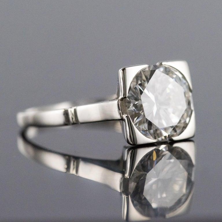 1930s Art Deco 1.78 Carat Diamond 18 Karat Platinum Solitary Ring For Sale 1