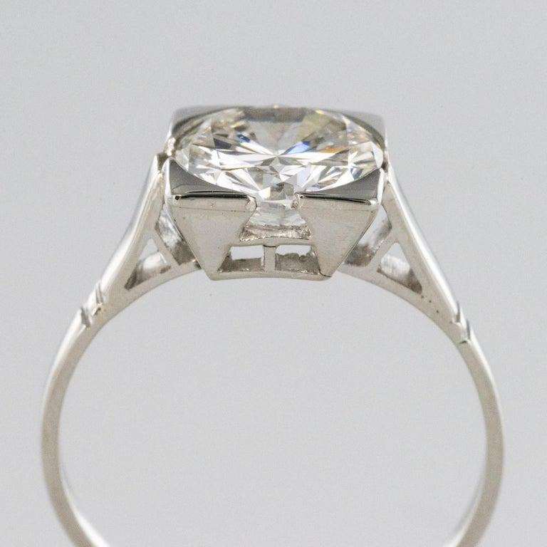 1930s Art Deco 1.78 Carat Diamond 18 Karat Platinum Solitary Ring For Sale 3