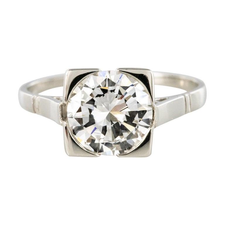 1930s Art Deco 1.78 Carat Diamond 18 Karat Platinum Solitary Ring For Sale