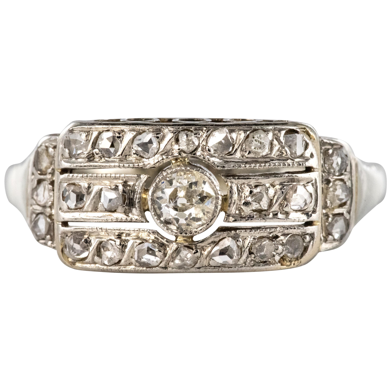 1930s Art Deco 18 Karat White Gold Diamond Ring