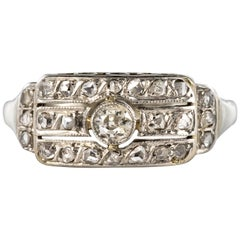 1930s Art Deco 18 Karat White Gold Diamond Ring