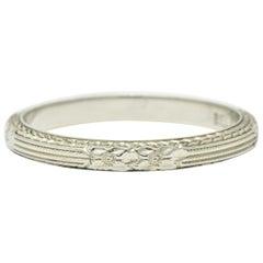 1930s Art Deco 18 Karat White Gold Orange Blossom Foliate Band Ring