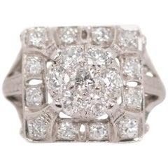 1930s Art Deco 2.5 Carat Total Diamond Platinum Cluster Ring