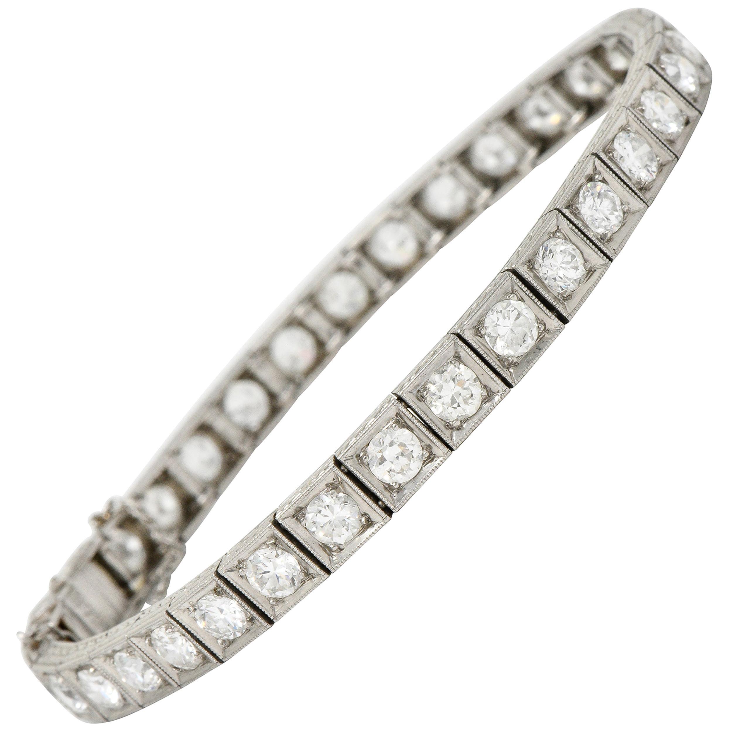 1930s Art Deco 5.90 Carat Diamond Platinum Line Bracelet