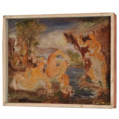1930s Art Deco Acrylic Painting on Wood after the Large Bathers by Renoir