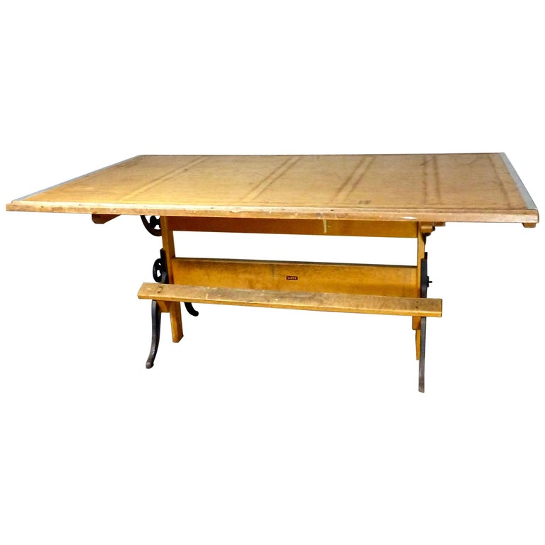 Groovy 1930S Art Deco Adjustable Drafting Table By Lietz San Francisco Home Interior And Landscaping Analalmasignezvosmurscom