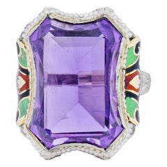 1930s Art Deco Amethyst Enamel Pearl 14 Karat Two-Tone Gold Cocktail Ring