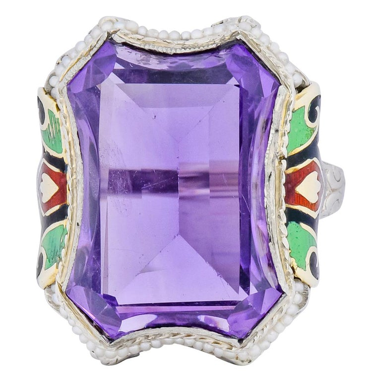 1930s Art Deco Amethyst Enamel Pearl 14 Karat Two-Tone Gold Cocktail Ring For Sale