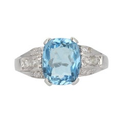 1930s Art Deco Aquamarine Diamonds Platinum Ring