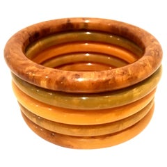 1930'S Art Deco Bakelite Bangle Bracelets-Set Of Five Pieces