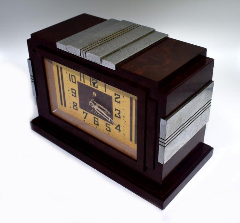 French 1930s Art Deco Bakelite Clock by JAZ For Sale