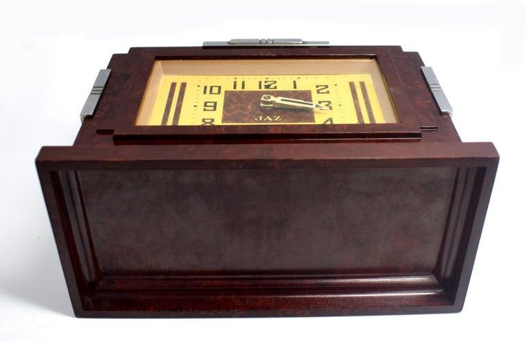 Chrome 1930s Art Deco Bakelite Clock by JAZ For Sale