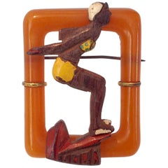 "1930'S Art Deco Bakelite & Wood Figural ""Diver Girl"" Brooch Pin"