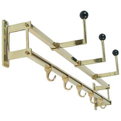 1930s Art Deco Bauhaus Brass and Wood Coat and Hat Rack
