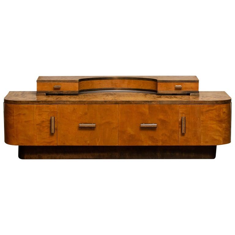 1930s, Art Deco Birch Vanity or Low Board Attributed to Eliel Saarinen, Norway In Good Condition In Silvolde, Gelderland