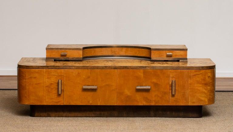 Mid-20th Century 1930s, Art Deco Birch Vanity or Low Board Attributed to Eliel Saarinen, Norway