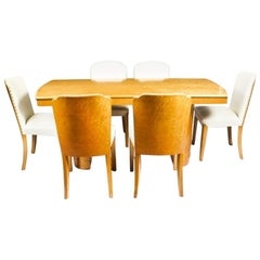 1930s Art Deco Bird's-Eye Maple Dining Table and Six Chairs