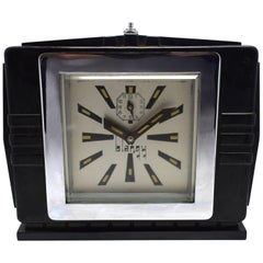 1930s Art Deco Black Bakelite Clock By Blangy
