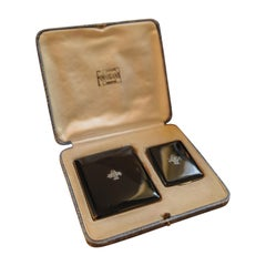 1930s Art Deco Black Lacquer and Chrome Cigarette Set with Case and Match Case